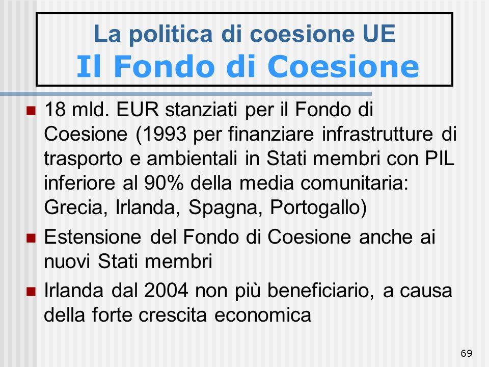 68 FONDO DI COESIONE Il Regolamento (CE) n. 1084/2006 definisce le disposizioni specifiche relative al Fondo di coesione, disciplinato dal regolamento