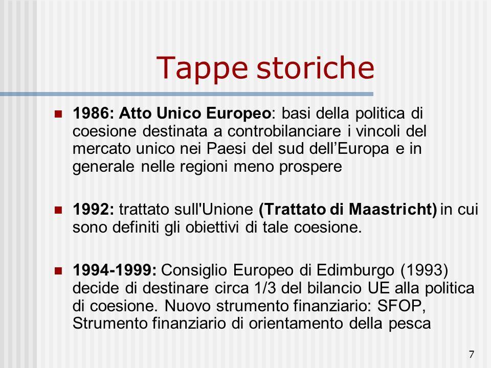 7 Tappe storiche 1986: Atto Unico Europeo: basi della politica di coesione destinata a controbilanciare i vincoli del mercato unico nei Paesi del sud dellEuropa e in generale nelle regioni meno prospere 1992: trattato sull Unione (Trattato di Maastricht) in cui sono definiti gli obiettivi di tale coesione.