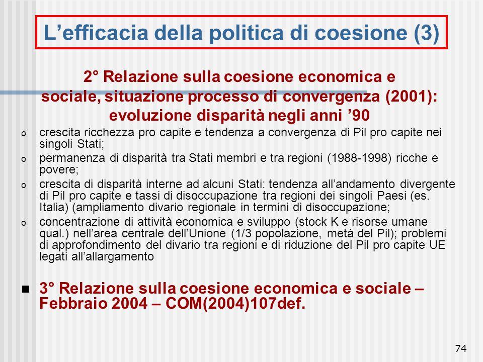 73 Lefficacia della politica di coesione (2) Processo di convergenza: riduzione dal 1970 al 1995 del rapporto tra reddito regioni ricche e povere (Pil