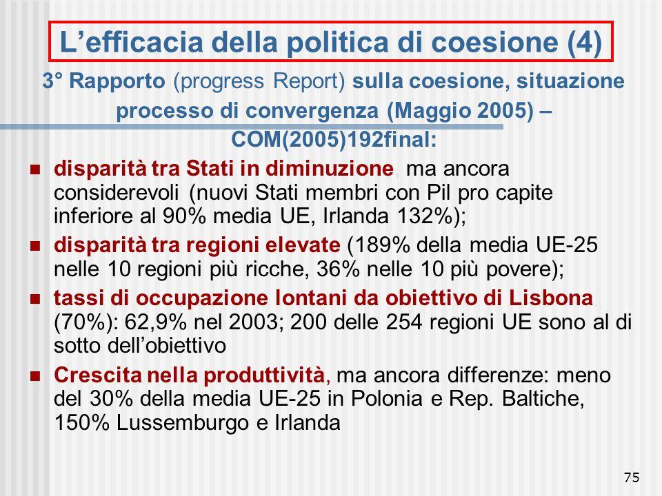74 Lefficacia della politica di coesione (3) 2° Relazione sulla coesione economica e sociale, situazione processo di convergenza (2001): evoluzione di