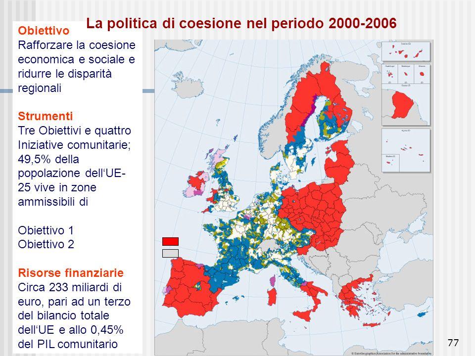 76 Tendenze nelle disparità: da metà anni 90, tasso di crescita medio annuo UE 2% Disparità regionali in diminuzione, anche se maggiori di quelle tra