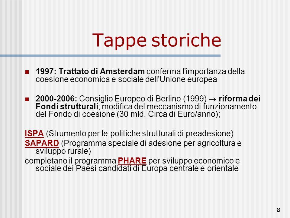 8 1997: Trattato di Amsterdam conferma l importanza della coesione economica e sociale dell Unione europea 2000-2006: Consiglio Europeo di Berlino (1999) riforma dei Fondi strutturali; modifica del meccanismo di funzionamento del Fondo di coesione (30 mld.