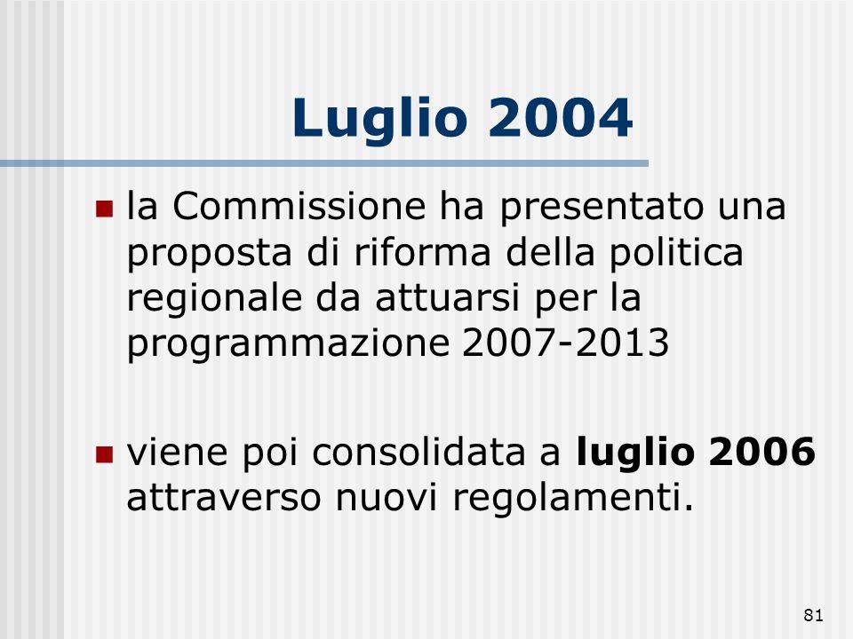 80 Programmazione 2007-2013 considerevoli modifiche rispetto alla precedente (2000-2006). Causa: 1. processo di allargamento a seguito del quale la co