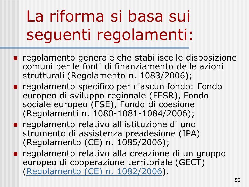 81 Luglio 2004 la Commissione ha presentato una proposta di riforma della politica regionale da attuarsi per la programmazione 2007-2013 viene poi con