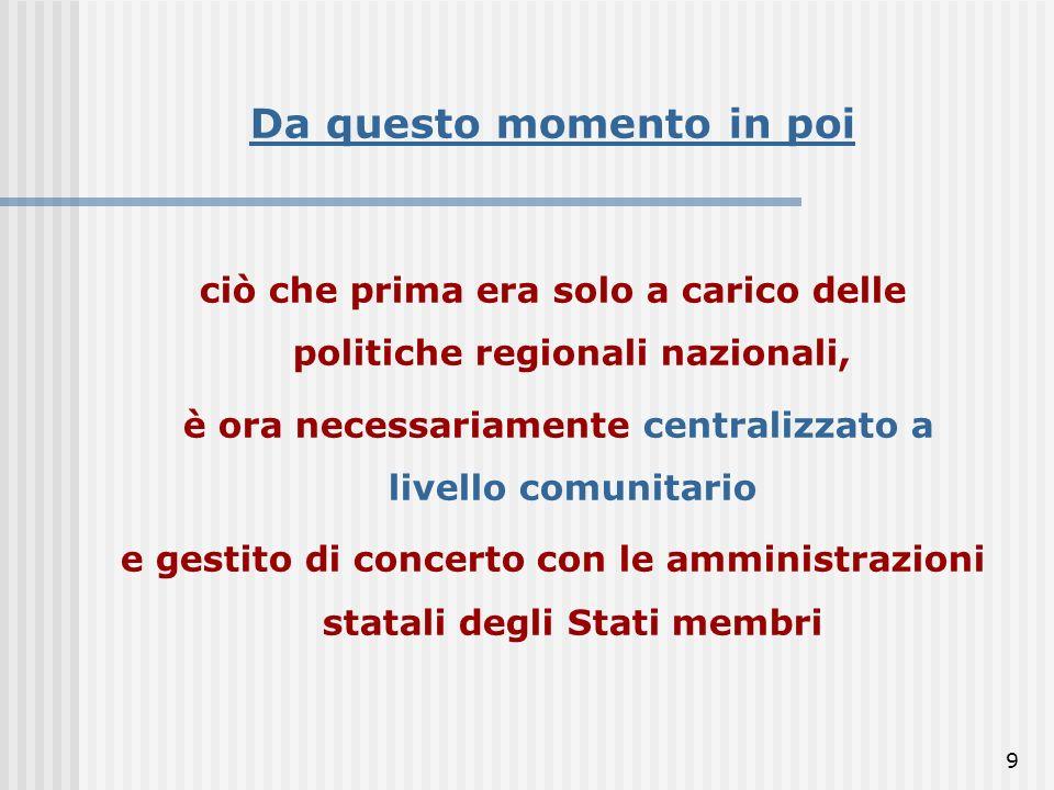 9 Da questo momento in poi ciò che prima era solo a carico delle politiche regionali nazionali, è ora necessariamente centralizzato a livello comunitario e gestito di concerto con le amministrazioni statali degli Stati membri