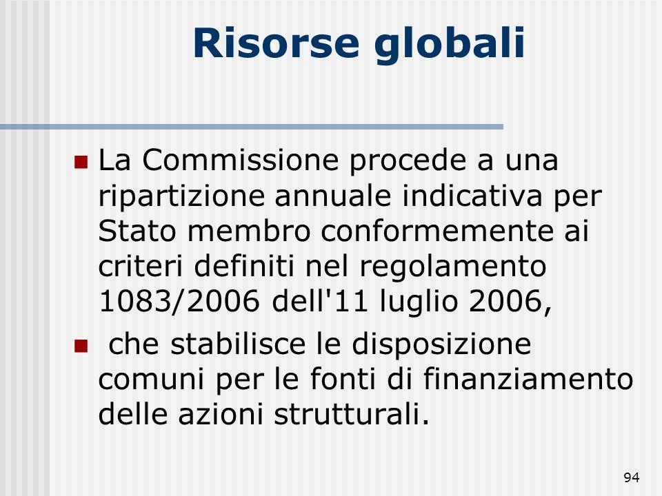 93 OBIETTIVI E RISORSE FINANZIARIE Risorse globali Le risorse disponibili, a livello europeo, da impegnare a titolo dei Fondi per il periodo 2007-2013