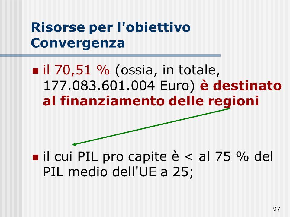 96 Risorse per l'obiettivo Convergenza 81,54 % risorse complessive destinate all'obiettivo