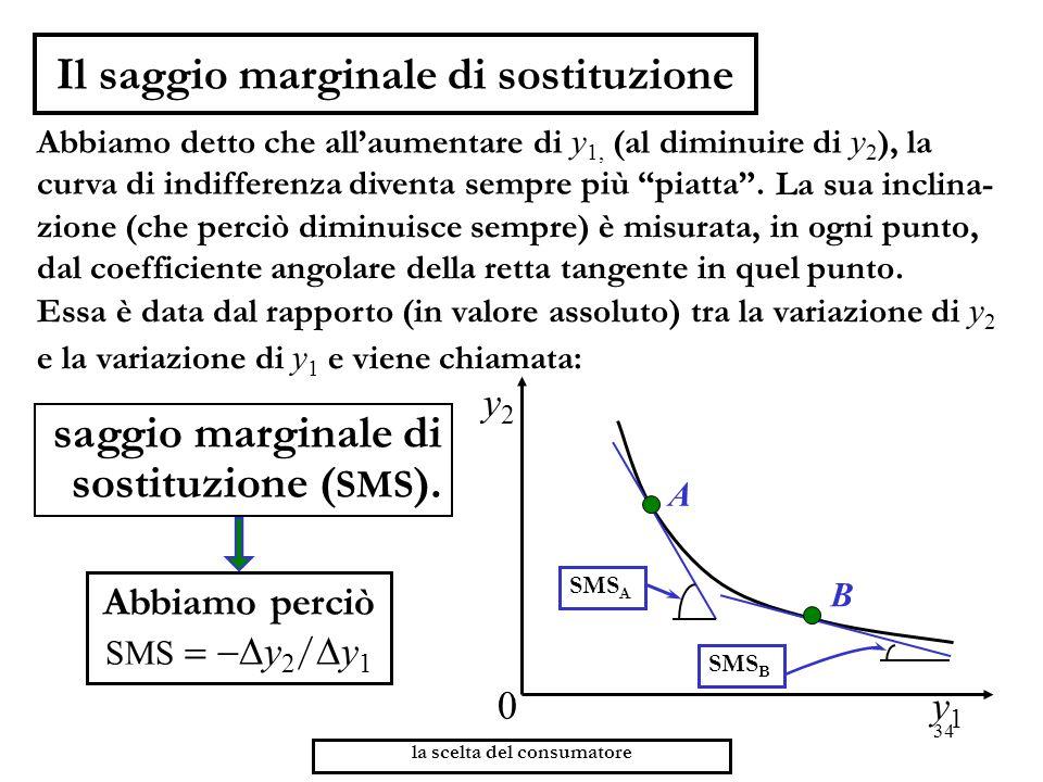34 la scelta del consumatore Il saggio marginale di sostituzione Abbiamo detto che allaumentare di y 1, (al diminuire di y 2 ), la curva di indifferen