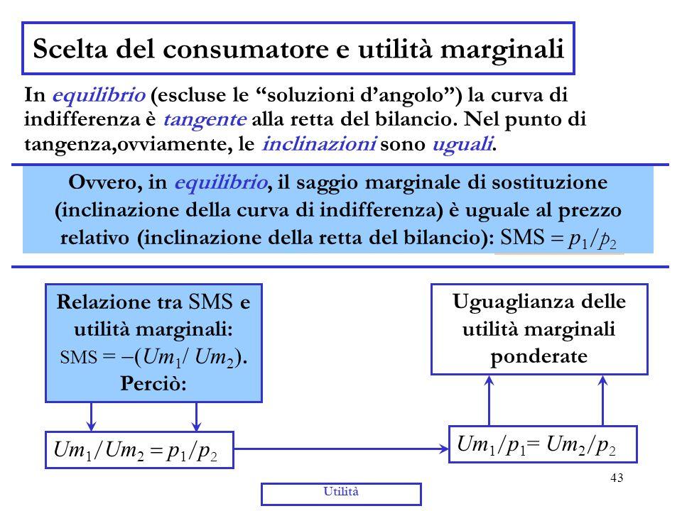 43 Utilità Scelta del consumatore e utilità marginali In equilibrio (escluse le soluzioni dangolo) la curva di indifferenza è tangente alla retta del