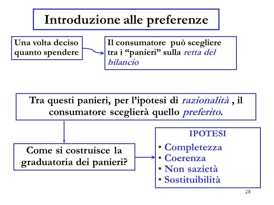 29 Preferenze Le ipotesi 1.