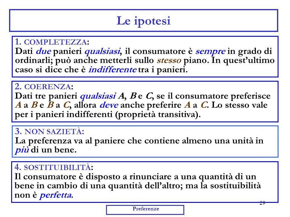 29 Preferenze Le ipotesi 1. COMPLETEZZA : Dati due panieri qualsiasi, il consumatore è sempre in grado di ordinarli; può anche metterli sullo stesso p