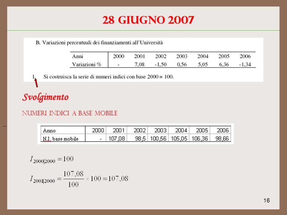 16 28 giugno 2007 Svolgimento Numeri indici a base mobile …