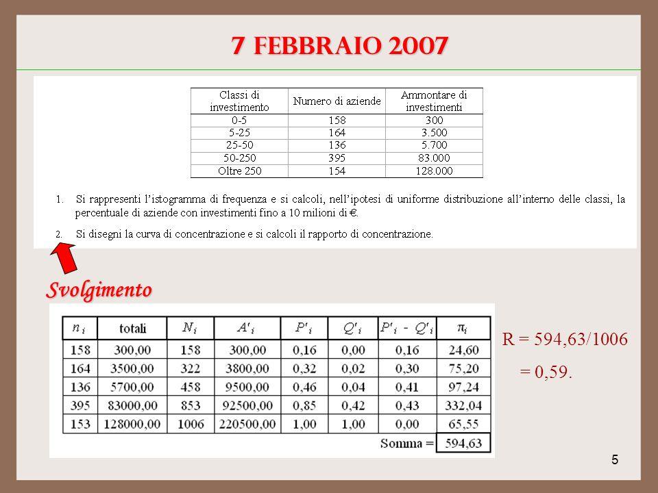 5 Svolgimento R = 594,63/1006 = 0,59.