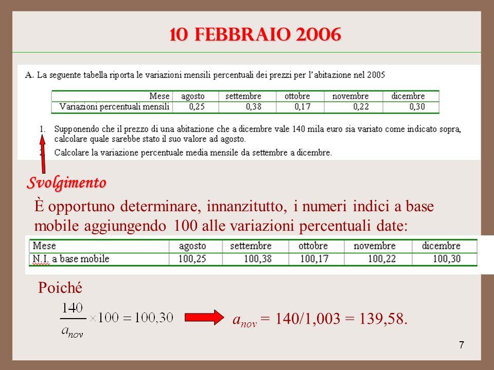 7 10 febbraio 2006 Svolgimento È opportuno determinare, innanzitutto, i numeri indici a base mobile aggiungendo 100 alle variazioni percentuali date: Poiché a nov = 140/1,003 = 139,58.