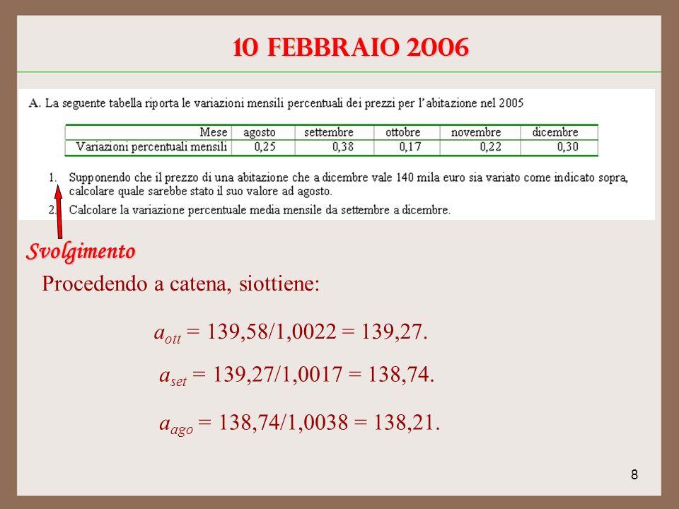 8 10 febbraio 2006 Svolgimento Procedendo a catena, siottiene: a ott = 139,58/1,0022 = 139,27.