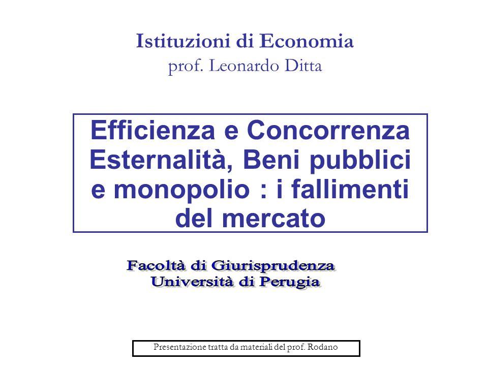 Istituzioni di Economia prof. Leonardo Ditta Efficienza e Concorrenza Esternalità, Beni pubblici e monopolio : i fallimenti del mercato Presentazione