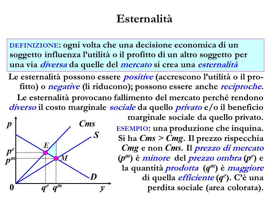 Esternalità Le esternalità possono essere positive (accrescono lutilità o il pro- fitto) o negative (li riducono); possono essere anche reciproche. DE