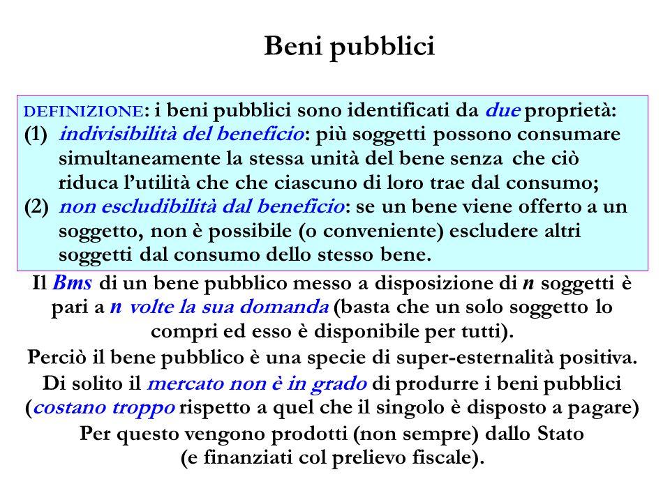 Beni pubblici DEFINIZIONE : i beni pubblici sono identificati da due proprietà: (1)indivisibilità del beneficio : più soggetti possono consumare simul