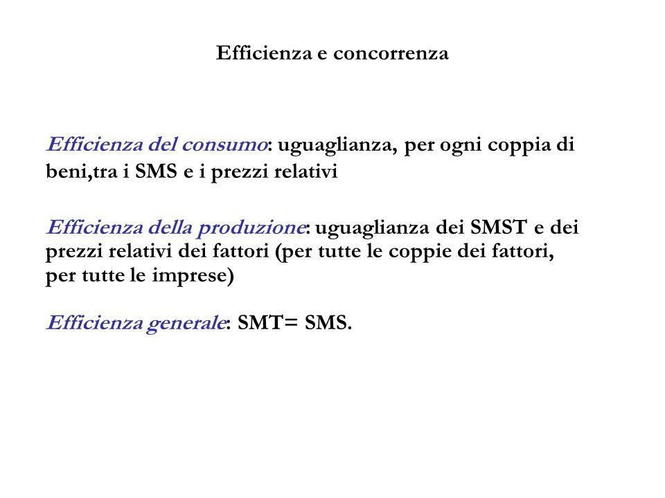 Efficienza e concorrenza Efficienza del consumo: uguaglianza, per ogni coppia di beni,tra i SMS e i prezzi relativi Efficienza della produzione: uguag