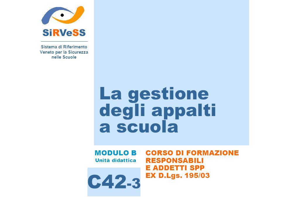 La gestione degli appalti a scuola SiRVeSS Sistema di Riferimento Veneto per la Sicurezza nelle Scuole C42 -3 MODULO B Unità didattica CORSO DI FORMAZ
