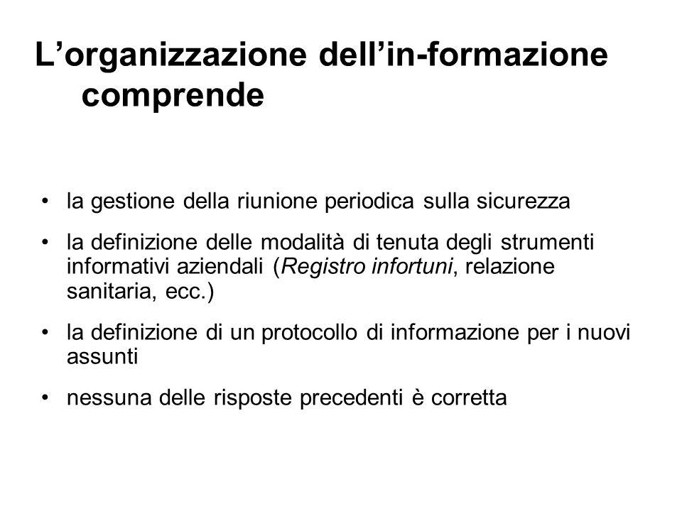 Lorganizzazione dellin-formazione comprende la gestione della riunione periodica sulla sicurezza la definizione delle modalità di tenuta degli strumen