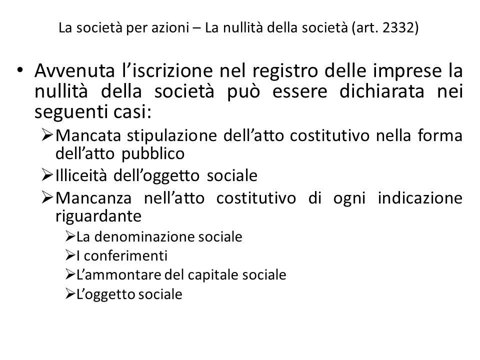 La società per azioni – La nullità della società (art. 2332) Avvenuta liscrizione nel registro delle imprese la nullità della società può essere dichi