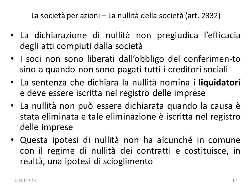 La società per azioni – La nullità della società (art. 2332) La dichiarazione di nullità non pregiudica lefficacia degli atti compiuti dalla società I