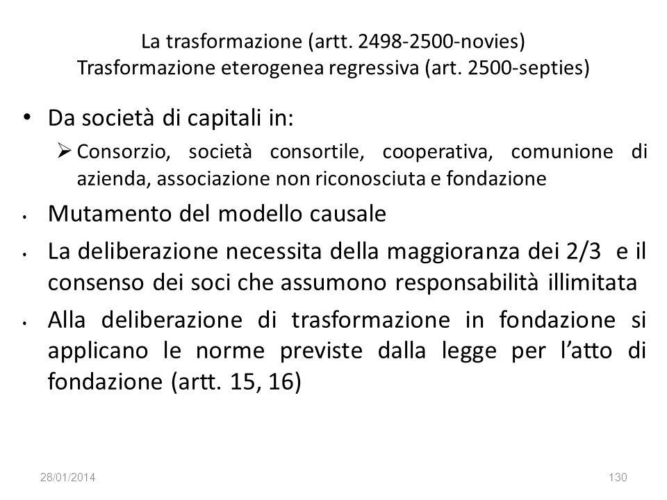 La trasformazione (artt. 2498-2500-novies) Trasformazione eterogenea regressiva (art. 2500-septies) Da società di capitali in: Consorzio, società cons
