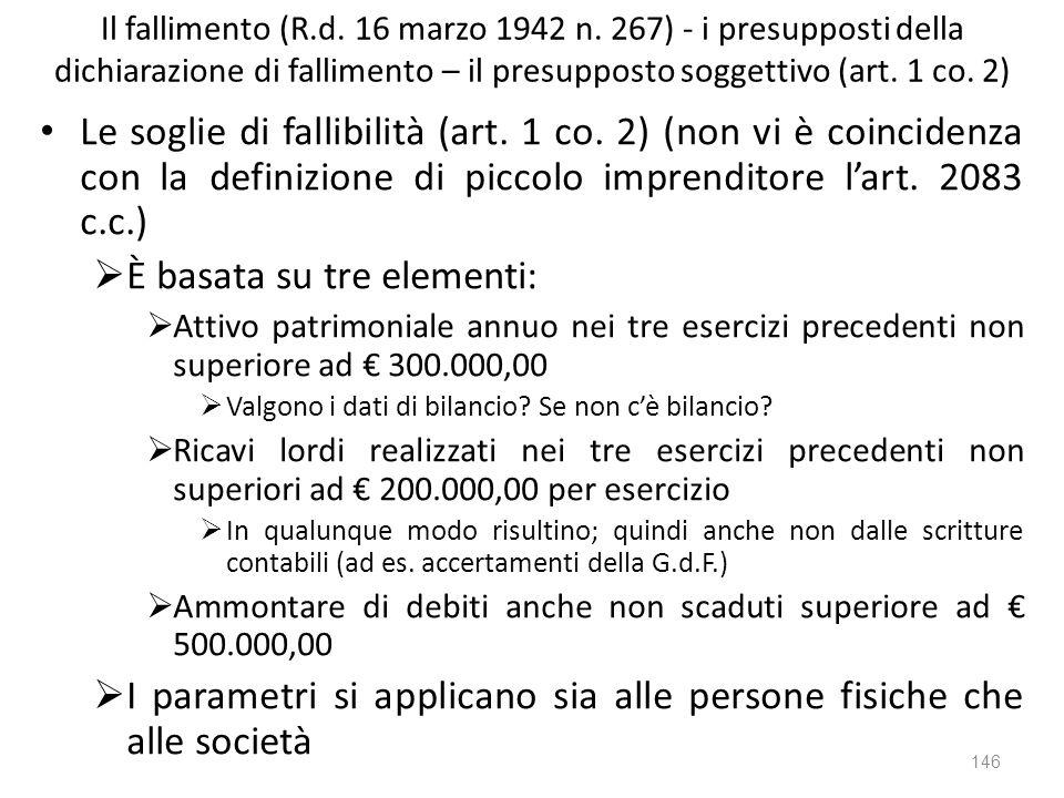 Il fallimento (R.d. 16 marzo 1942 n. 267) - i presupposti della dichiarazione di fallimento – il presupposto soggettivo (art. 1 co. 2) Le soglie di fa