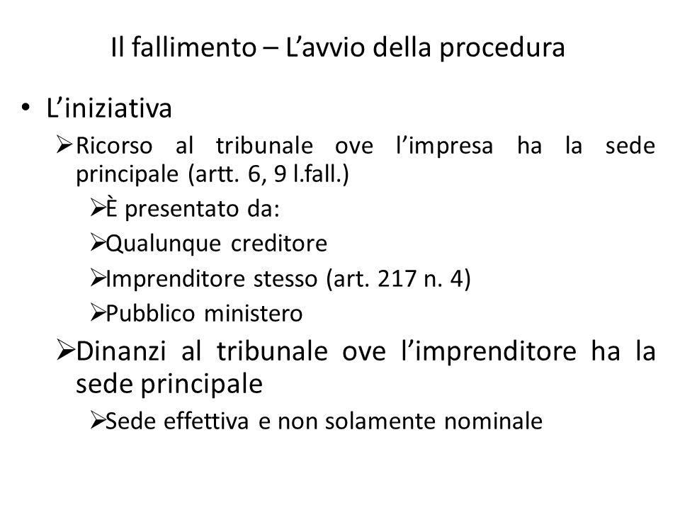 Il fallimento – Lavvio della procedura Liniziativa Ricorso al tribunale ove limpresa ha la sede principale (artt. 6, 9 l.fall.) È presentato da: Qualu