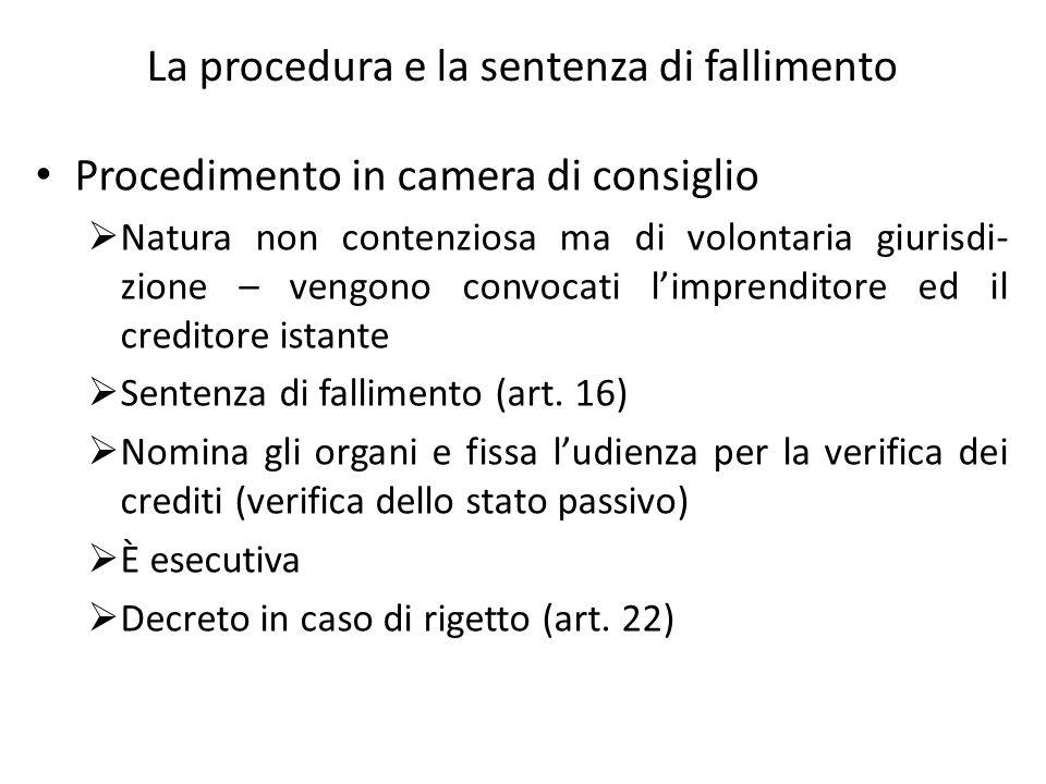 La procedura e la sentenza di fallimento Procedimento in camera di consiglio Natura non contenziosa ma di volontaria giurisdi- zione – vengono convoca