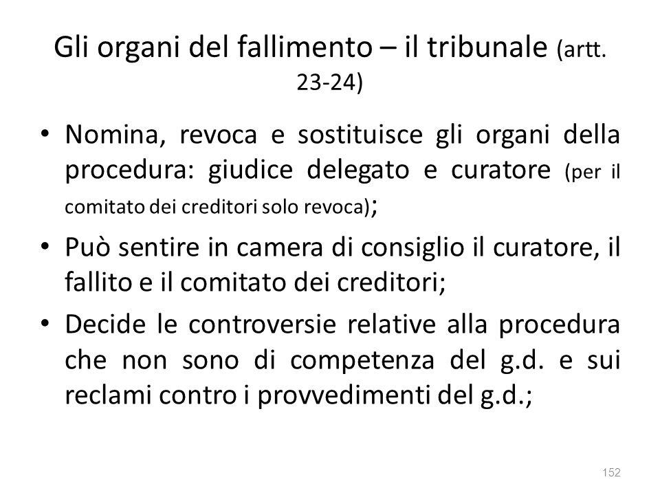 Gli organi del fallimento – il tribunale (artt. 23-24) Nomina, revoca e sostituisce gli organi della procedura: giudice delegato e curatore (per il co