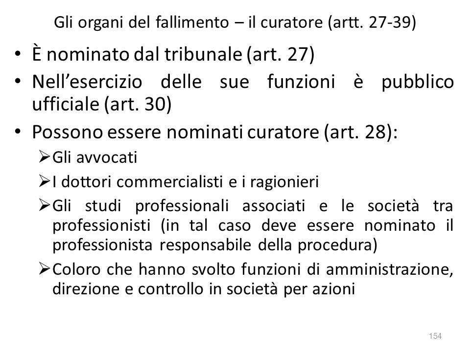 Gli organi del fallimento – il curatore (artt. 27-39) È nominato dal tribunale (art. 27) Nellesercizio delle sue funzioni è pubblico ufficiale (art. 3