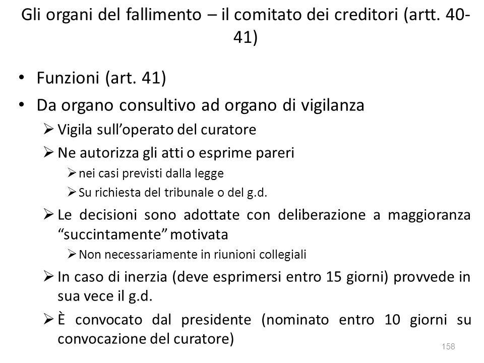 Gli organi del fallimento – il comitato dei creditori (artt. 40- 41) Funzioni (art. 41) Da organo consultivo ad organo di vigilanza Vigila sulloperato