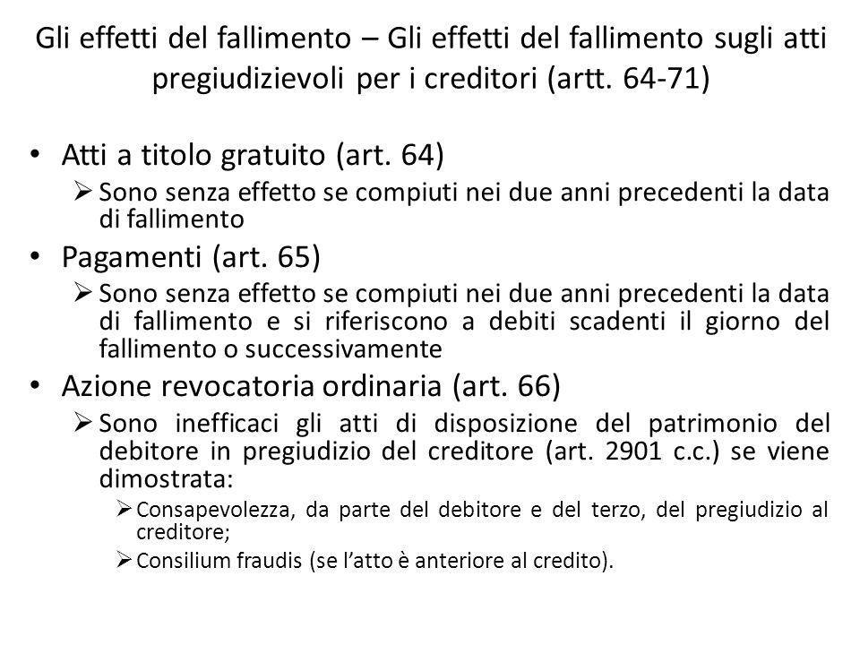 Gli effetti del fallimento – Gli effetti del fallimento sugli atti pregiudizievoli per i creditori (artt. 64-71) Atti a titolo gratuito (art. 64) Sono