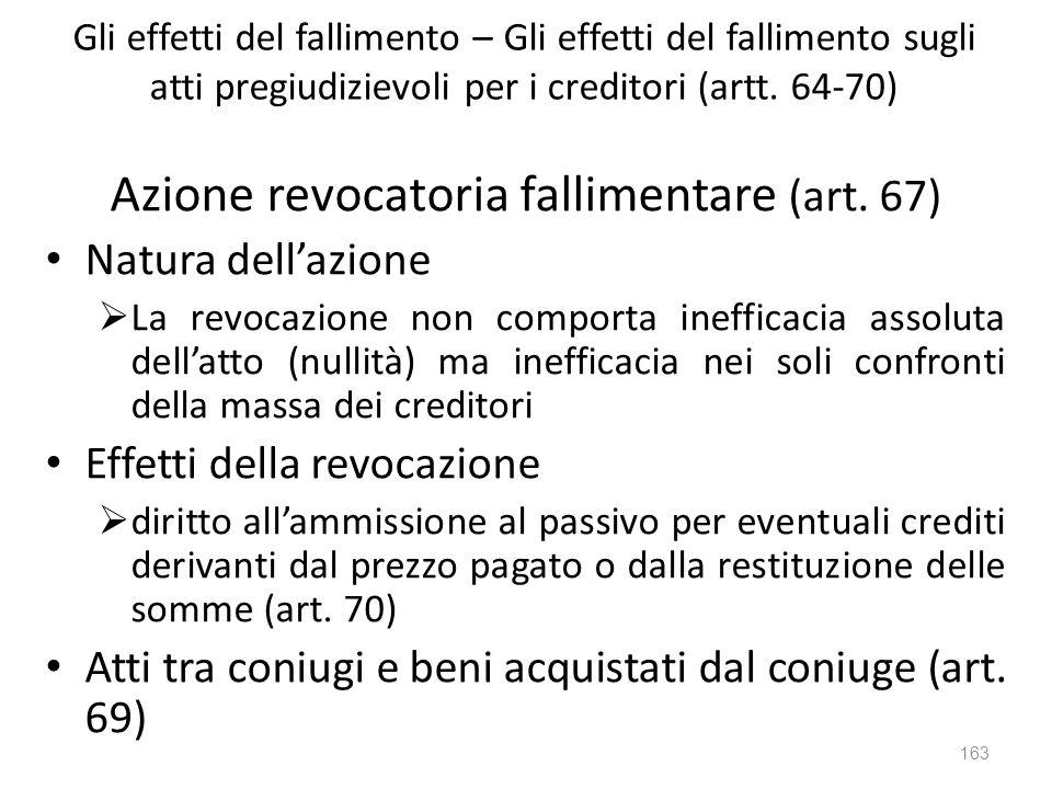 Gli effetti del fallimento – Gli effetti del fallimento sugli atti pregiudizievoli per i creditori (artt. 64-70) Azione revocatoria fallimentare (art.