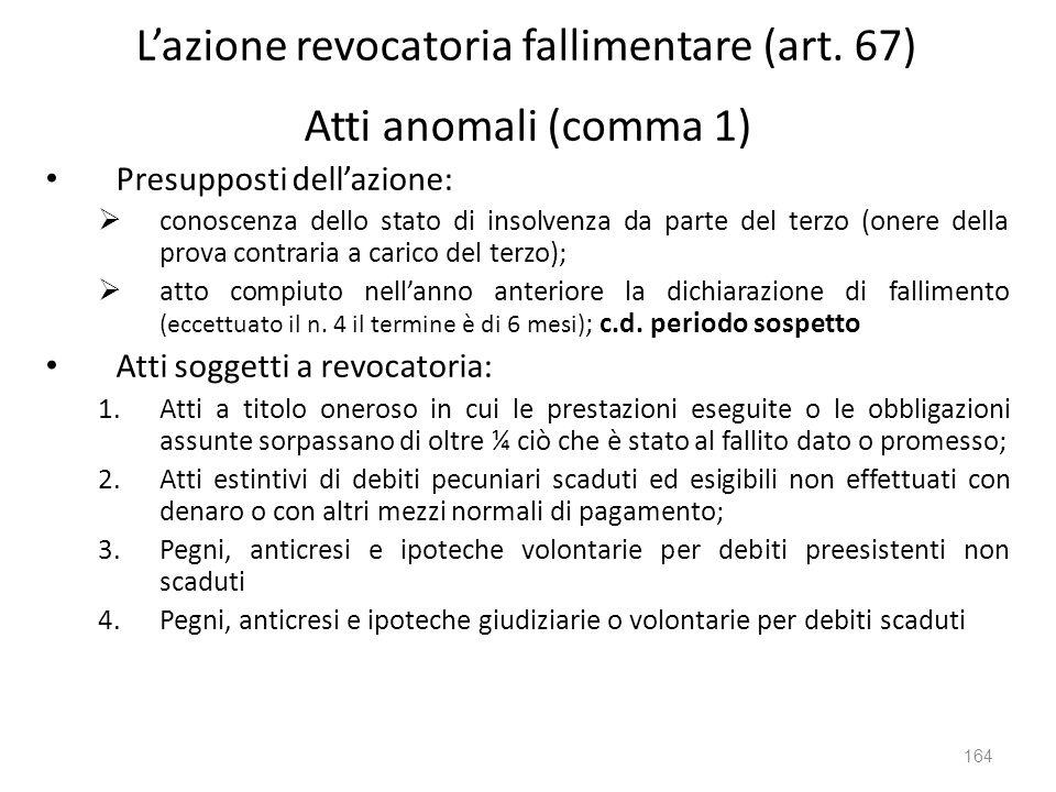 Lazione revocatoria fallimentare (art. 67) Atti anomali (comma 1) Presupposti dellazione: conoscenza dello stato di insolvenza da parte del terzo (one