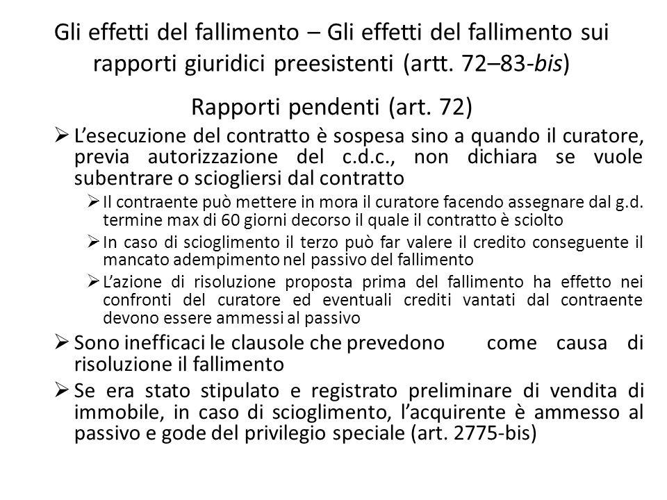 Gli effetti del fallimento – Gli effetti del fallimento sui rapporti giuridici preesistenti (artt. 72–83-bis) Rapporti pendenti (art. 72) Lesecuzione