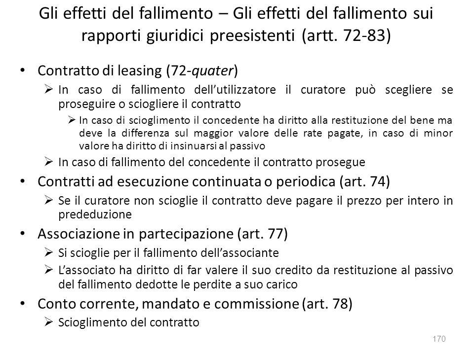 Gli effetti del fallimento – Gli effetti del fallimento sui rapporti giuridici preesistenti (artt. 72-83) Contratto di leasing (72-quater) In caso di