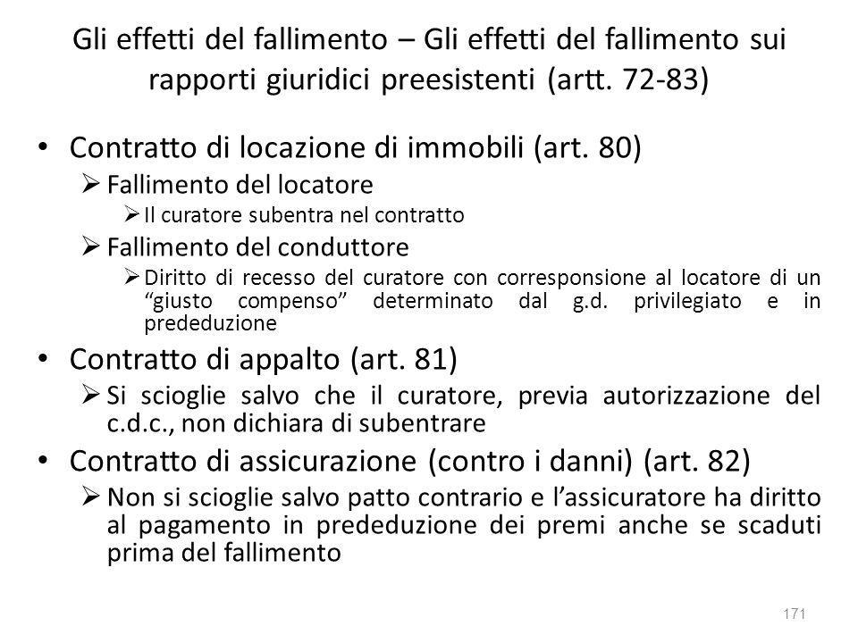 Gli effetti del fallimento – Gli effetti del fallimento sui rapporti giuridici preesistenti (artt. 72-83) Contratto di locazione di immobili (art. 80)