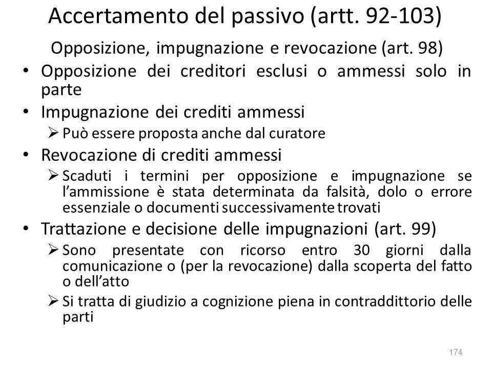 Accertamento del passivo (artt. 92-103) Opposizione, impugnazione e revocazione (art. 98) Opposizione dei creditori esclusi o ammessi solo in parte Im