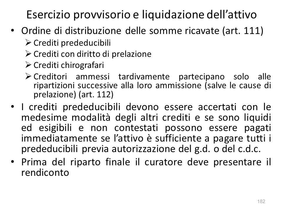Esercizio provvisorio e liquidazione dellattivo Ordine di distribuzione delle somme ricavate (art. 111) Crediti prededucibili Crediti con diritto di p