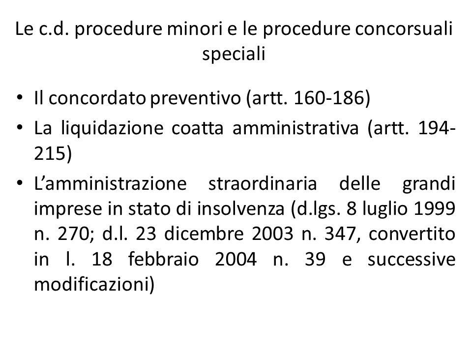 Le c.d. procedure minori e le procedure concorsuali speciali Il concordato preventivo (artt. 160-186) La liquidazione coatta amministrativa (artt. 194