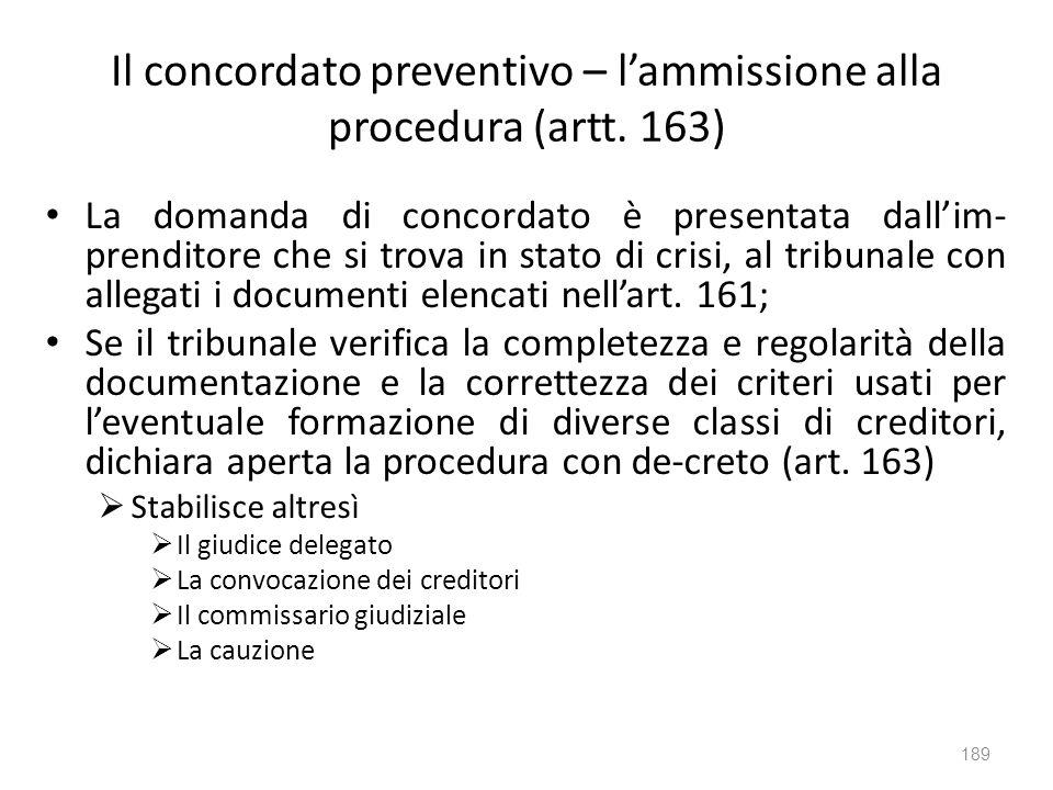 Il concordato preventivo – lammissione alla procedura (artt. 163) La domanda di concordato è presentata dallim- prenditore che si trova in stato di cr