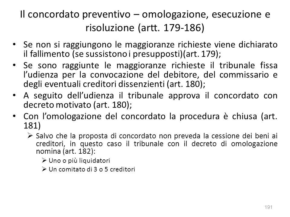 Il concordato preventivo – omologazione, esecuzione e risoluzione (artt. 179-186) Se non si raggiungono le maggioranze richieste viene dichiarato il f