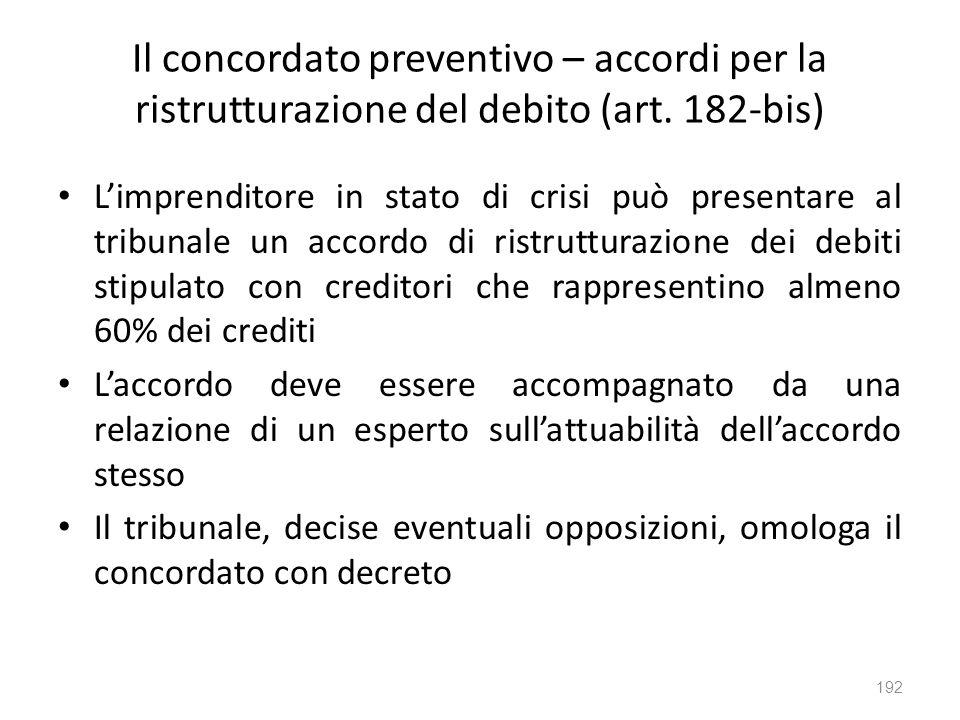 Il concordato preventivo – accordi per la ristrutturazione del debito (art. 182-bis) Limprenditore in stato di crisi può presentare al tribunale un ac