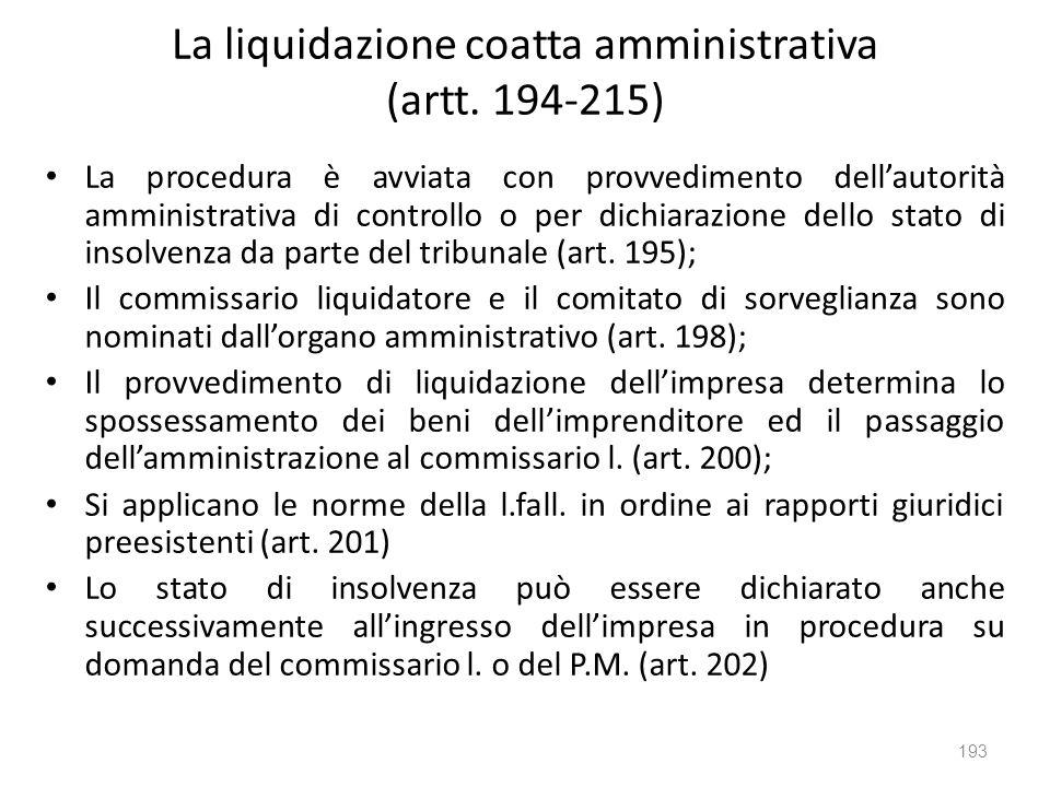 La liquidazione coatta amministrativa (artt. 194-215) La procedura è avviata con provvedimento dellautorità amministrativa di controllo o per dichiara