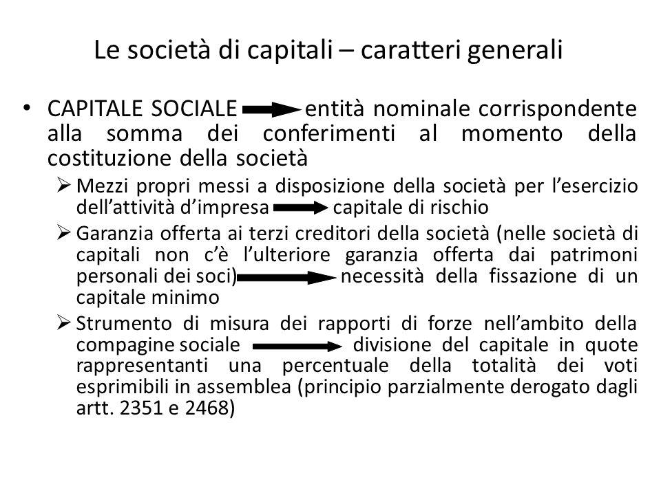 Le società di capitali – caratteri generali CAPITALE SOCIALE entità nominale corrispondente alla somma dei conferimenti al momento della costituzione
