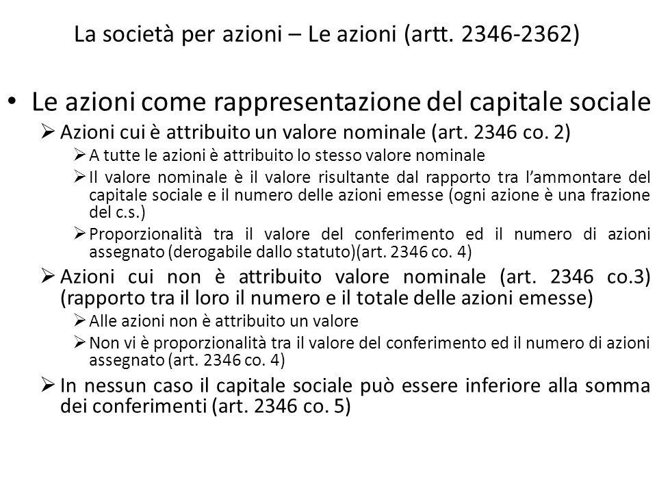 La società per azioni – Le azioni (artt. 2346-2362) Le azioni come rappresentazione del capitale sociale Azioni cui è attribuito un valore nominale (a