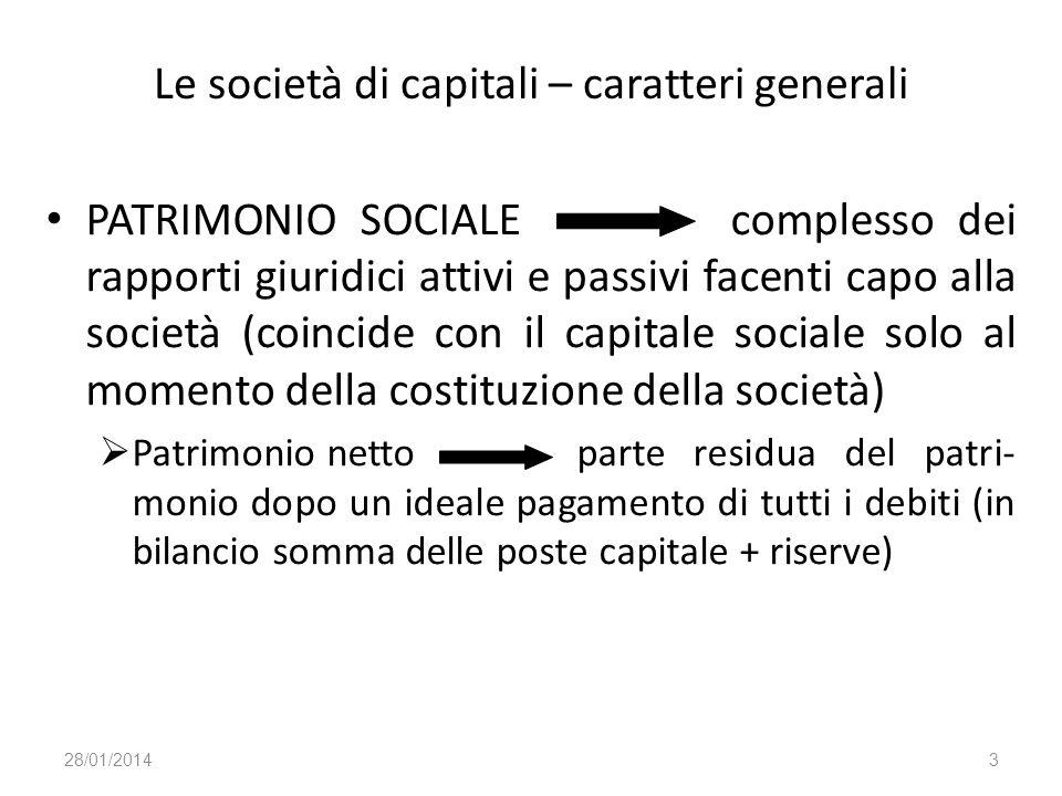 Le società di capitali – caratteri generali PATRIMONIO SOCIALE complesso dei rapporti giuridici attivi e passivi facenti capo alla società (coincide c
